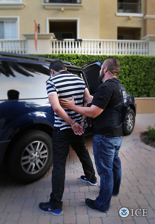 U.S. Immigration and Enforcement (ICE) Enforcement and Removal Operations (ERO) officers arrest a foreign fugitive in Irvine, Calif., Tuesday, with an active Interpol alert. Other foreign fugitives were arrested across the United States this week by ERO and the U.S. Marshals Service in support of ICE's public safety mission to identify, locate, arrest, and remove international criminal fugitive aliens.