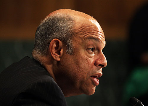 Homeland Security Secretary Jeh Johnson testifies on Capitol Hill in Washington, Tuesday, April 28, 2015, before the Senate Judiciary Committee on oversight of the department. (AP Photo/Lauren Victoria Burke)
